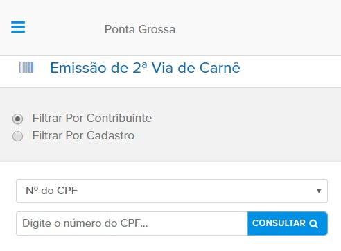 Consulta e 2ª Via IPTU Ponta Grossa PR